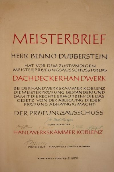 Meisterbrief Benno Dubberstein