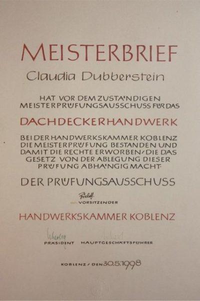 Meisterbrief Claudia Dubberstein