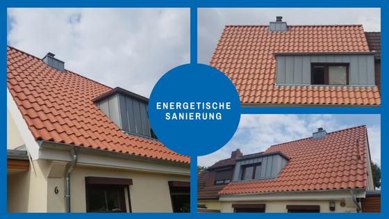 Energetische Sanierung eines Daches mit roten Tonziegeln